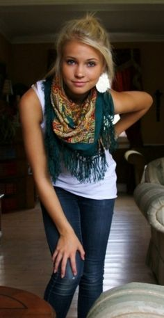 Easy put together  jeans, white top & finished off with a scarf