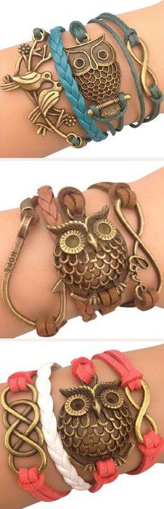 Owl Wrap Bracelets ♥ L.O.V.E #coral #turquoise  #brown