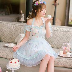 "Sweet floral condole belt chiffon dress Coupon code ""cutekawaii"" for 10% off"