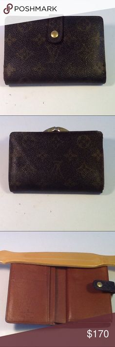 Authentic Luis Vuitton Porte Monaire Brown Wallet. Leather showed signs of used inside the wallet. The wallet was made in France with a date code MI 1916. The dimension is 4, 5.5 and 1. The snap can close but a bit loose due to using. Louis Vuitton Accessories