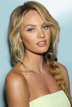 Candice Swanepoel. hair-spiration. Braid. Messy hair. Dewy natural skin