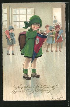 carte postale ancienne: CPA Illustrateur Fritz Baumgarten: Herzlichen Glückwunsch zum ersten Schulgang, Fille avec Schultüte, Einschulung