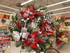 Snowy Poinsettia Wreath Sherrie NJ Michaels