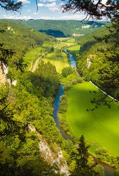 Danube valley in Germany, beautiful landscape with blue river, trees and bright green meadows. Donautal, Blick vom Knopfmacherfelsen in Richtung Beuron.  Available as fine art print or canvas print  with 30 days money back guarantee. (c) Matthias Hauser hauserfoto.com #nature #photography