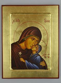 Icône Grecque Byzantine Sainte Anne - Mère de la Vierge Marie St Anne, Holy Family, Saints, Religion, Anna, Marvel, Baseball Cards, Boutique, Byzantine Icons