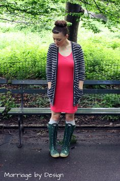T shirt dress and Hunter rain boots