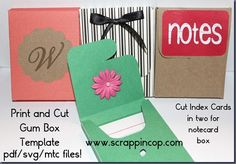 I made a template from an Extra Gum box and if you cut index cards in half they fit perfectly in the box.  Download the free template from my blog and use scissors or your favorite e-cutter to cut the box.  Embellish to your heart's content!