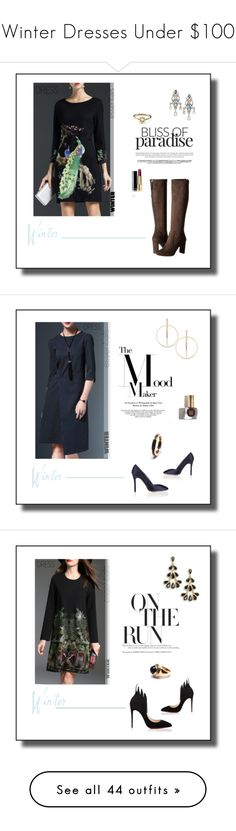 """""""Winter Dresses Under $100"""" by tjuli-interior ❤ liked on Polyvore featuring Nine West, Lanvin, Agnes de Verneuil, Chanel, Charlotte Olympia, Puck Wanderlust, Lana, Oscar de la Renta, Christian Louboutin and Yves Saint Laurent"""