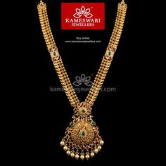 Traditional gold necklaces for women from the house of Kameswari. Shop for antique gold necklace, exquisite diamond necklace and more! Gold Temple Jewellery, Real Gold Jewelry, Gold Jewelry Simple, Indian Jewelry, Saree Jewellery, Pearl Jewelry, Pearl Necklace Designs, Gold Earrings Designs, Jewellery Designs