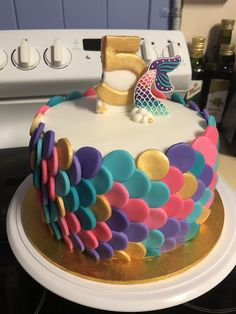 Mermaid cake, 3 layers vanilla cake with vanilla, rainbow spinkled buttercream. Mermaid Birthday Cakes, Rainbow Birthday Party, Mermaid Cakes, Birthday Cupcakes, 5th Birthday, Buttercream Fondant, Fondant Cakes, 6 Cake, No Bake Cake