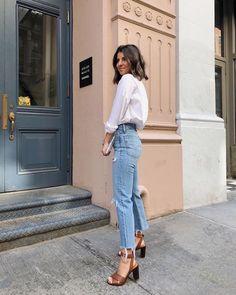 New style inspiration spring jeans heels ideas Look Fashion, Trendy Fashion, Womens Fashion, Trendy Style, Fashion Heels, Simple Style, Fashion Vintage, Fashion Clothes, Spring Fashion