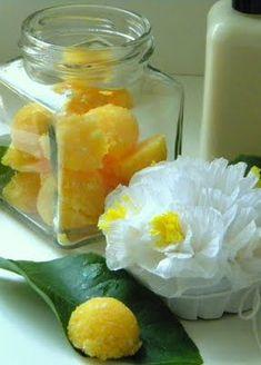 "Sugar Scrub ""soap shred"" recipe:  1 Tbsp. oil (such as canola oil), 2 Tbsp. soap shreds, 3 Tbsp. sugar"
