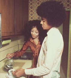 Michael and LaToya sharing #tea in happier times. #celebrities