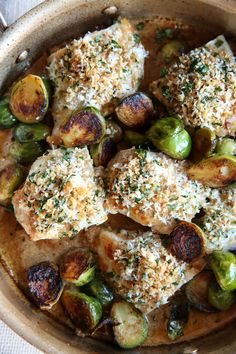 Garlic Parmesan Chicken with Brussels Sprouts