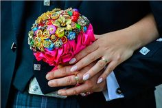 Handmade wedding Bouquet Fabric Bridal Bouquet luxury bouquet fucsia silver crystals