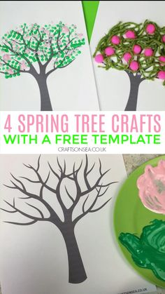 Mar 2020 - Easy spring tree crafts for kids and art parojects to make with our free tree template. Four fun ideas for toddlers, preschoolers or older kids. Halloween Crafts For Toddlers, Summer Crafts For Kids, Crafts For Kids To Make, Spring Kids Craft, Spring Toddler Crafts, Garden Crafts For Kids, How To Make, Toddler Art Projects, Crafts For Seniors