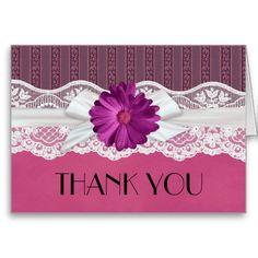 Lace Ribbon Gerbera Pink Damask Thank you Greeting Card