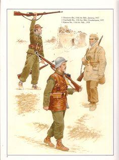 Spanish Civil War; International Brigade. L to R Garibaldi Bn. 12th Int Bde,Guadalajara 1937, Rakosi Bn 13th Int Bde 1938. & Dimitrov Bn, 15th Int Bde, Jamara 1937