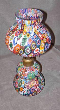 Vintage Murano Millefiori Glass Oil Lamp
