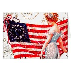 Flag Lady Gibson Girl Patriotic 4th of July USA Card