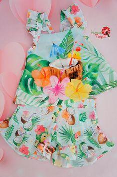 Conjunto Infantil Água de Coco Mon Sucré Baby Girl Dress Design, Short Niña, Cotton Frocks, Summer Kids, Girly Girl, Baby Dolls, Baby Kids, Kids Outfits, Girls Dresses