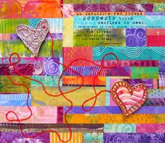 A Valentine Collage from Gelli Arts® & Winner of Tool of the Year at Creative World!  The collage has two heart embellishments. They're fun to create—and add a meaningful Valentine message!