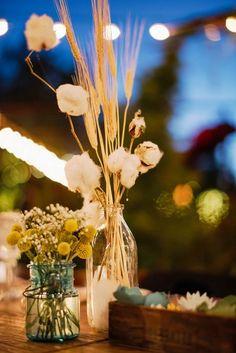 Cotton plant centerpiece | Ryan Flynn Photography