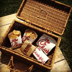 Chick-fil-A picnic basket? Summer Picnic, Sweet Memories, A Table, Nom Nom, Chicken, Fries, Company Picnic, Marketing Ideas, Food