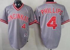 Cincinnati Reds #4 Brandon Phillips Gray Pullover Jersey