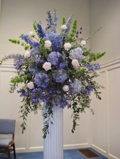 Hydrangea, Delphinium, Bells of Ireland, Agapanthus blue reception funeral flowers Altar Flowers, Church Flowers, Funeral Flowers, Silk Flowers, Wedding Flowers, Cream Flowers, Blue Wedding, Spring Flowers, Trendy Wedding