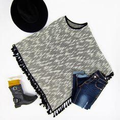 Black Marled Tassel Poncho