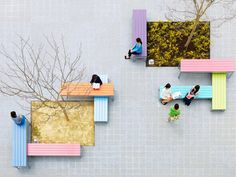We have dotted the open area with trees that create shade and colorful benches of varying heights. Align them, link them, stack them, the benches can be...