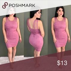 Suede soft rose pink dress Slip on suede pink dress worn once for an 2 hour event. It's true to size has some stretch to it. Very comfortable pull on dress. Like new Dresses Midi