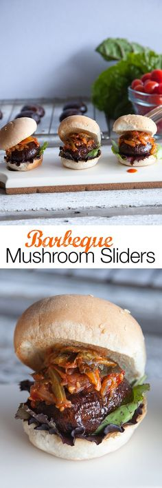 Portobello Mushroom Sliders Veggie Burger Recipe A recipe for vegan sliders made using portobello mushrooms instead of meat. You no longer have to suffer through the laborious task of trimming your veggie burgers into tiny circles to get that slider Burger Recipes, Veggie Recipes, Whole Food Recipes, Vegetarian Recipes, Cooking Recipes, Healthy Recipes, Yummy Recipes, Edgy Veg, Vegan Burgers