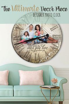 Gotta have this one of a kind designer photo clock with my family photo! by ForAllTimeClocks.