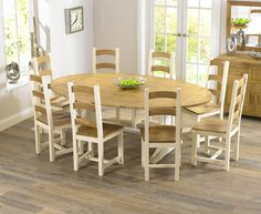 Cavendish Solid oak & cream all sides extending dining table with six Marlow oak & cream Chairs 8 Seater Dining Table, Mahogany Dining Table, Antique Dining Tables, Dinning Set, Oak Dining Table, Extendable Dining Table, Dining Room Design, Table And Chairs