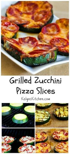 When those monster zucchini start to show up in the garden, make Grilled Zucchini Pizza Slices!  This will be a hit with the whole family. #LowCarb #GlutenFree #SouthBeachDiet [from KalynsKitchen.com]