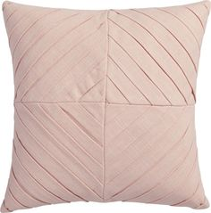 "Shop meridian blush 16"" pillow.   Diagonal pleats angle a tailored diamond pattern on this linen-like pillow.  Perfect for layering or as a singular statement.  Pleated blush front flips to solid same-color back."
