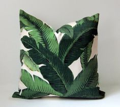Palm Pillow Cover - Any size - indoor/outdoor - Green Floral  - 17-26 inches - Palm fronds - Leaves- Nature - modern resort - made to order