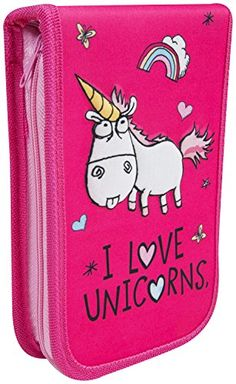 Despicable Me Minions 'I Love Unicorns' Filled Pencil Case (Pink) My Minion, Minions, Zipper Drawing, Stationery Pens, Sewing Leather, Coloured Pencils, Black Felt, Despicable Me, Markers