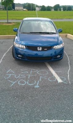 I must start carrying chalk for those parking space hogs