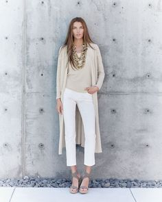 -602N Eileen Fisher Crepe Maxi Cardigan, Stretch Silk Camisole & Organic Skinny Ankle Jeans, Women's