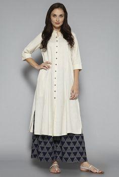 Buy Utsa by Westside Indigo Printed Palazzos for Women Online @ Tata CLiQ Simple Kurti Designs, Salwar Designs, Kurti Neck Designs, Kurta Designs Women, Kurti Designs Party Wear, Blouse Designs, Indian Attire, Indian Outfits, Indian Dresses