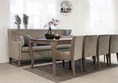 Kveld dining sofa, Victoria Table and Varg Chair