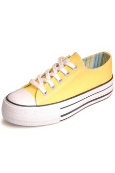 Yellow Lace-Up Woman Sneakers Creeper Shoes