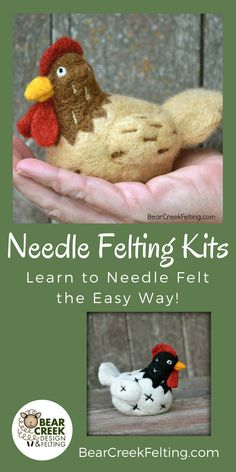 DIY Chicken needle felting kit. High quality materials from Bear Creek with detailed instructions to help you make your own needle felted chicken. Instructions include pictures of each step. Needle Felting Kits make excellent gifts for craft lovers of all ages.