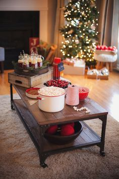 Old fashioned garland crafting station from a Cozy Tree Trimming Holiday Party on Kara's Party Ideas | KarasPartyIdeas.com (39)