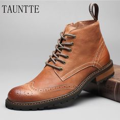 Tauntte Winter Full Grain Leather Ankle Boots Men Retro Brogues Carving Flower Martin Boots Classic Chukkas-in Chelsea Boots from Shoes on Aliexpress.com   Alibaba Group