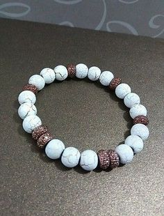 White and brown beaded stretch bracelet