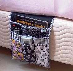 20 Easy Sewing Projects for Beginners - Amately Bed Caddy, Bedside Caddy, Bedside Organizer, Bedside Shelf, Bedside Storage, Pocket Organizer, Sewing Projects For Beginners, Diy Projects, Fabric Crafts